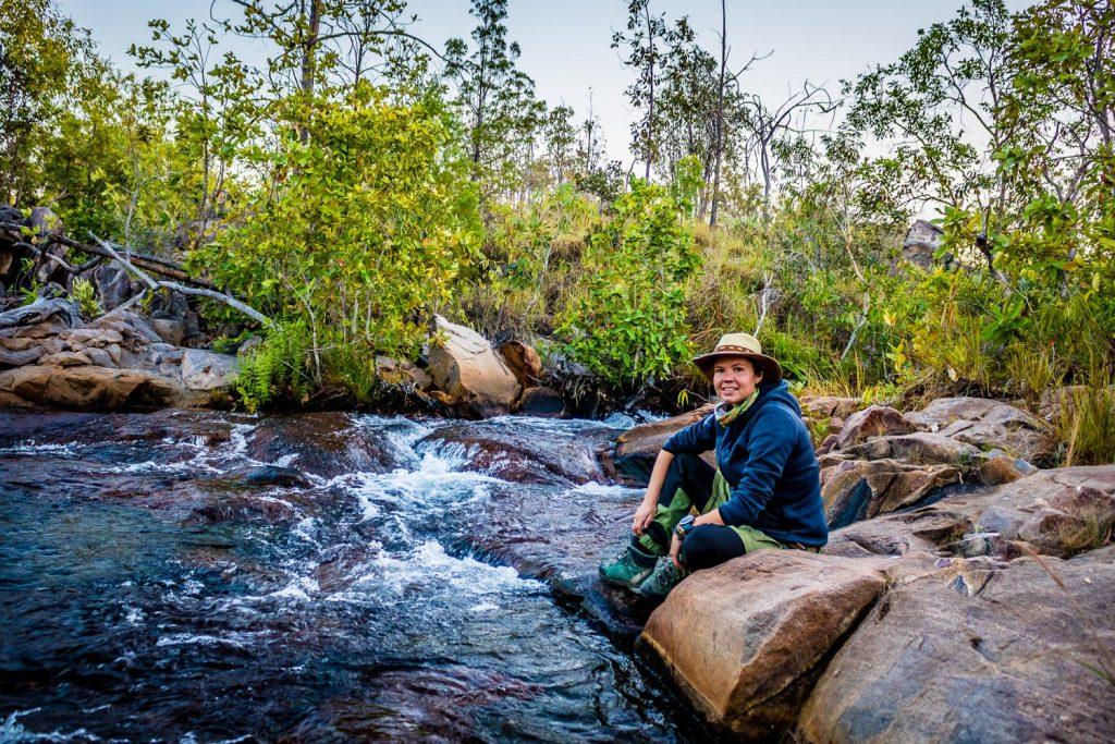 Getting water early morning jatbula trail Australia