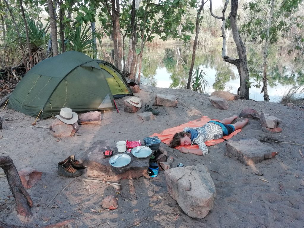 Nanet doing a nap at Sandy Camp - Jatbula Trail