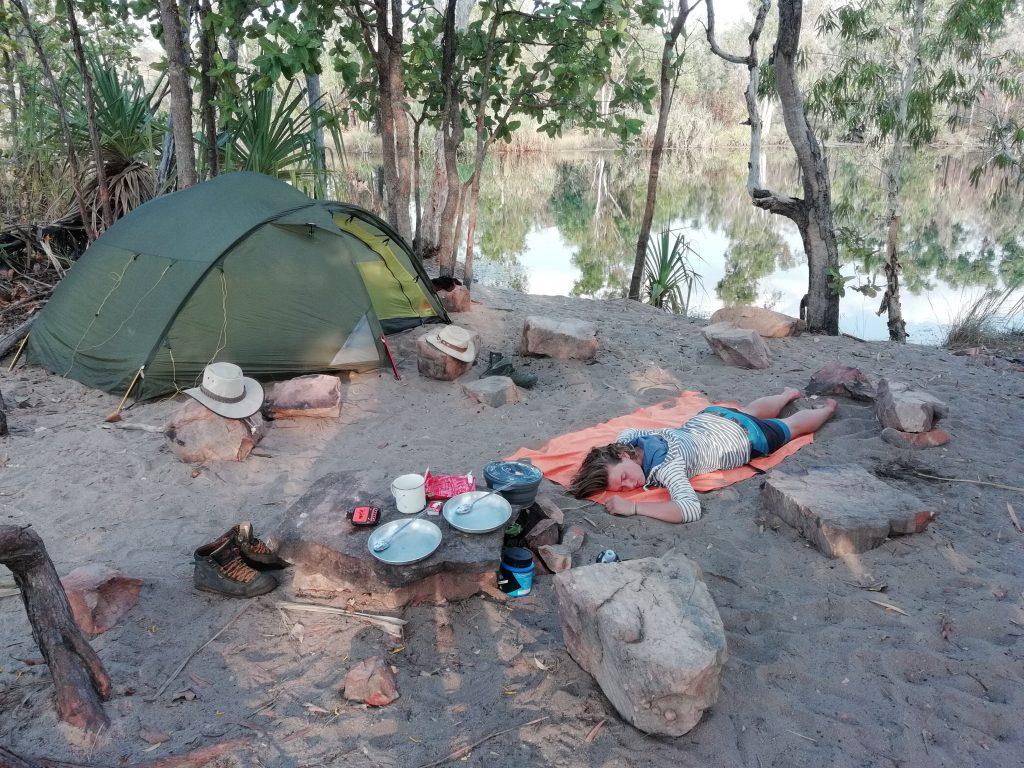 Nanet doing a nap at Sandy Camp - Jatbula Trail
