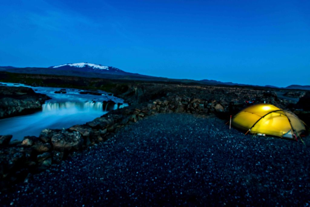 Camping Waterfall Iceland