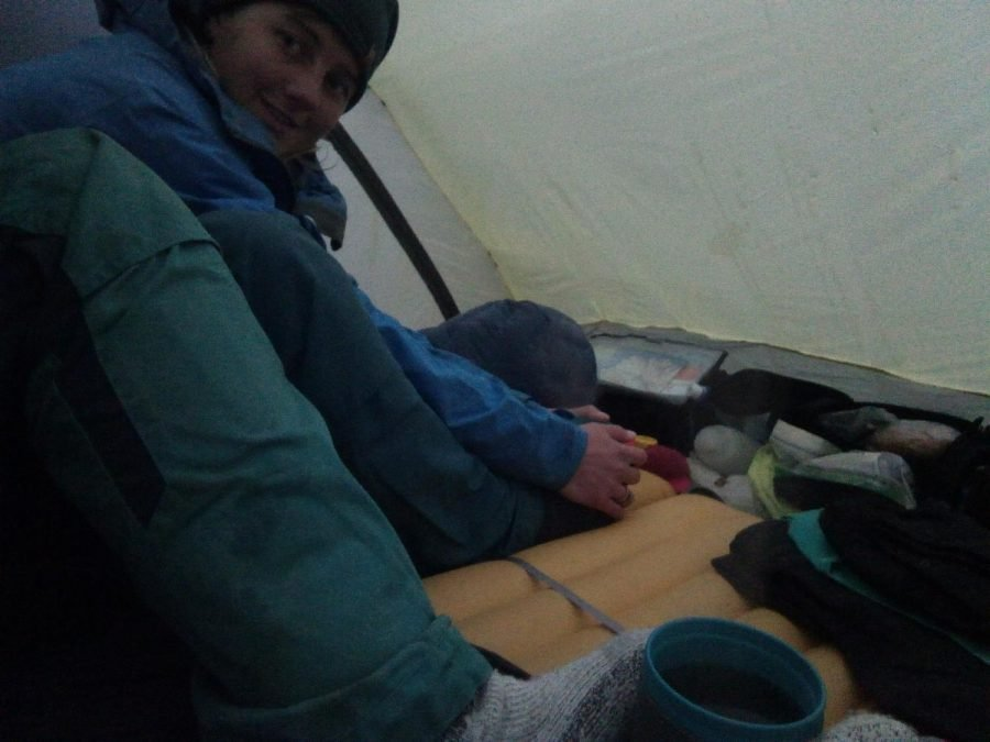 Cold weather camping in tent