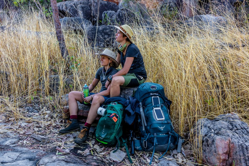 A hat for sun protection during a backpacking hike