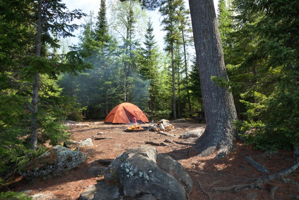 camp fire during a backpacking trip