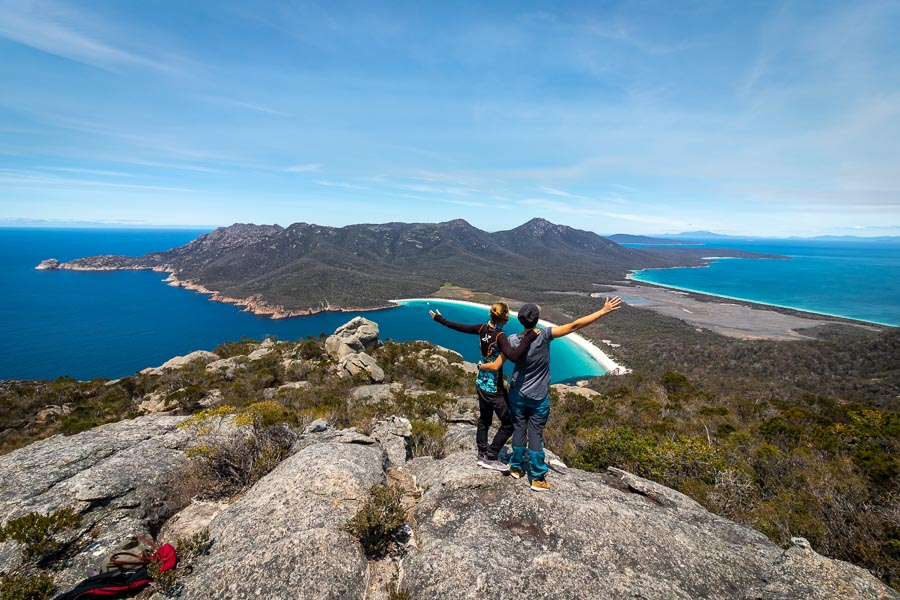 Kelly and Nanet overlooking Wine Glass Bay in Freycinet National Park