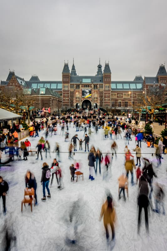 Ice Skating in winter in the center of Amsterdam