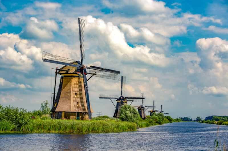 Beautiful Old Dutch Windmills at Kinderdijk in the Netherlands