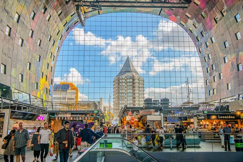 Awesome street art at the ceiling of the Markthal in Rotterdam