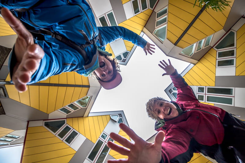 See the cube houses during one day Rotterdam