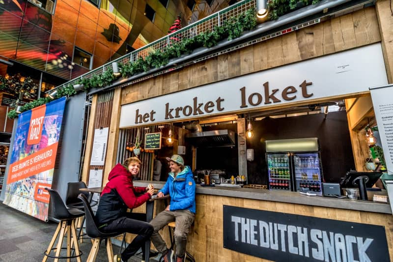 Street food -Kroket in the Markthal Rotterdam, Netherlands