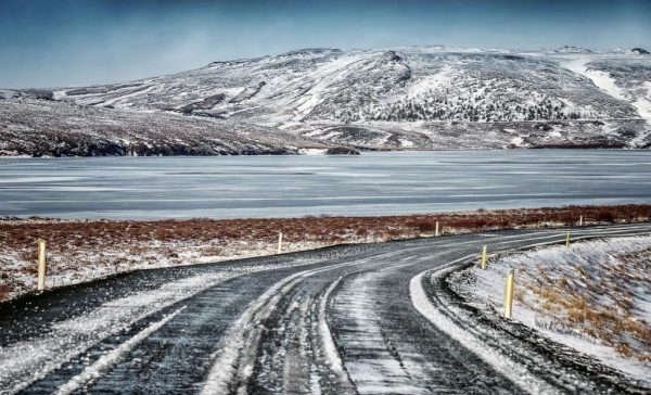 Car rental Iceland Icy Road Winter