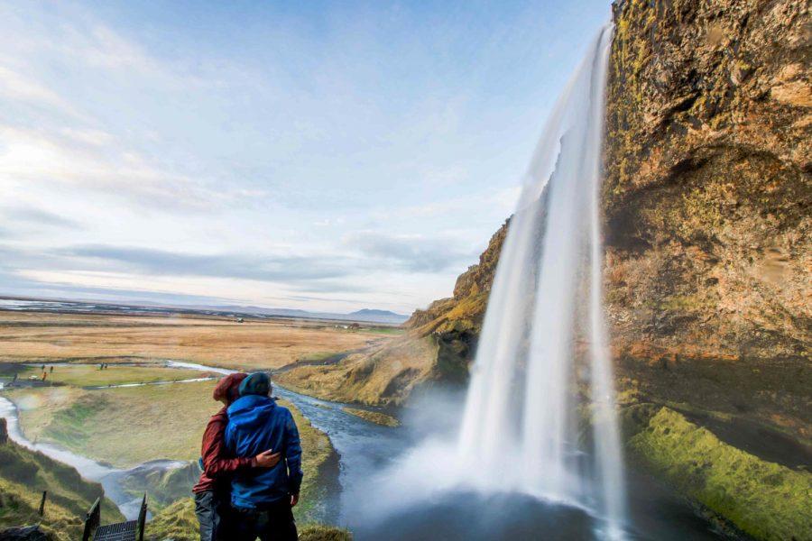 Diamond beach Iceland waterfall south