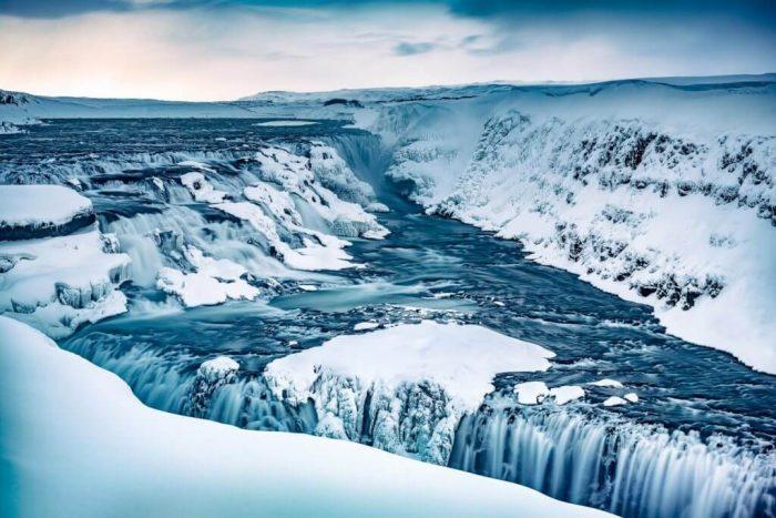 Iceland Golden Circle map Frozen Waterfall