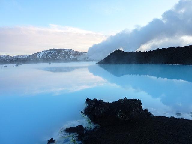 Blue Lagoon Iceland  blue sky