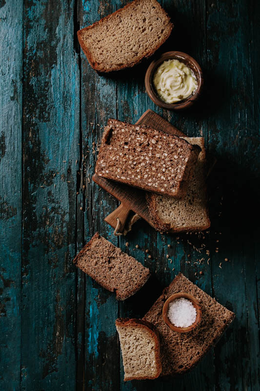 Rye Bread Butter Typical Iceland Food