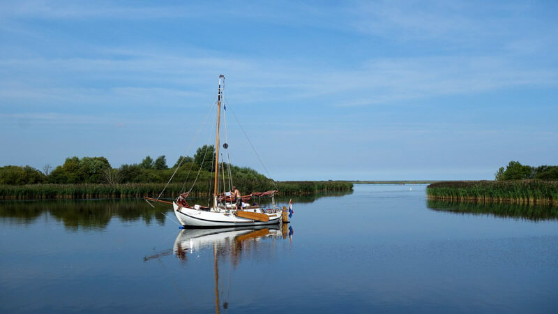Sailing boat in Lauwersmeer