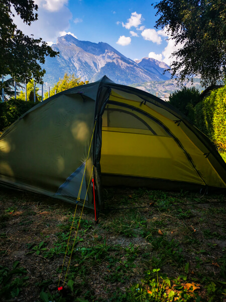 Tent in front of the mountains