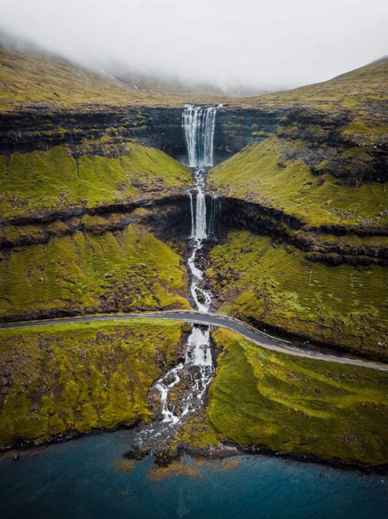 Fossa waterfall Faroe Islands