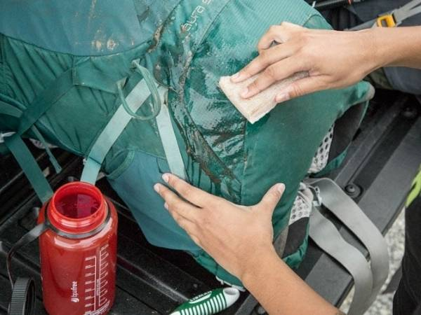 Washing a backpack by hand