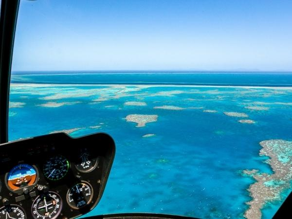 Helicopter above the great barrier reef Australia