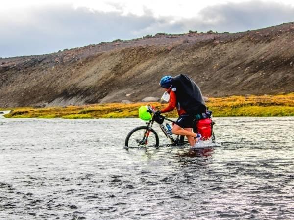 Best bike panniers crossing a glacier river in Iceland