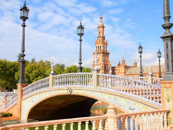 Cycling in Spain through the historical town of Sevilla