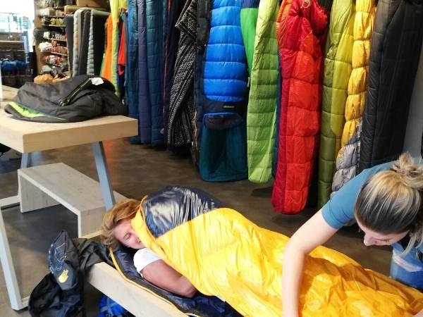 Test new sleeping bags
