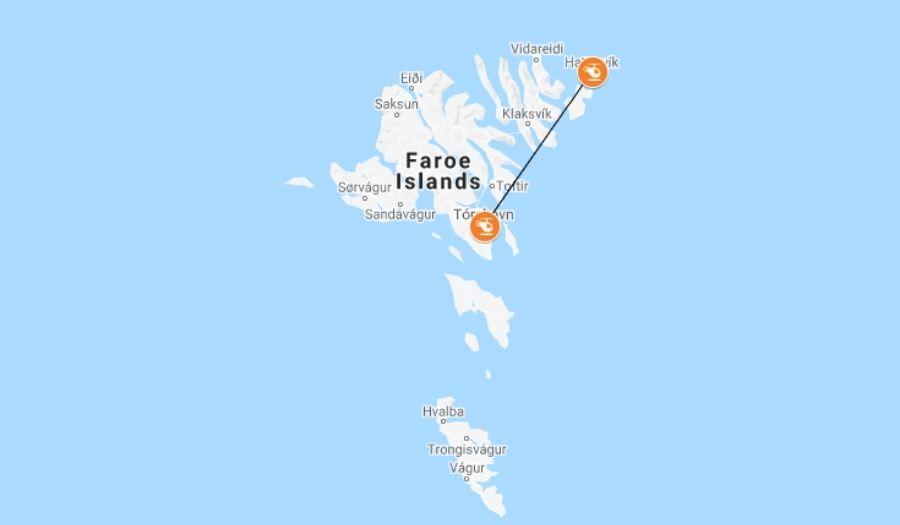 Helicopter route Faroe Islands