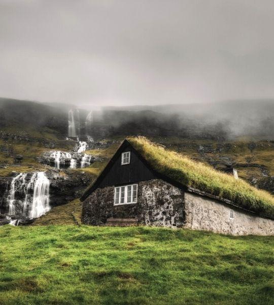 faroe islands house grass
