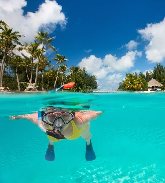 a women in a yellow bikini learning how to snorkel in a clear ocean with palm trees in the background