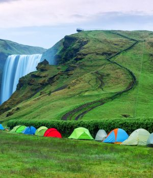Camping Iceland Waterfall group